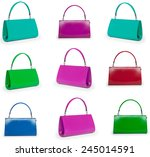 female bags collection on white ... | Shutterstock . vector #245014591