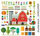 farm in village. elements for... | Shutterstock .eps vector #245014909