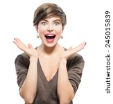 surprised woman. young... | Shutterstock . vector #245015839