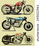 vintage motorcycle vector set | Shutterstock .eps vector #245022961