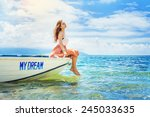 dream concept  woman sitting in ... | Shutterstock . vector #245033635