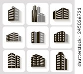 set of dimensional buildings... | Shutterstock . vector #245036731