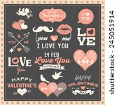 valentine's day labels  icons... | Shutterstock .eps vector #245051914