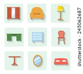 colored flat icons furniture.   ... | Shutterstock . vector #245062687