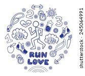 love run blue vector icons set. ... | Shutterstock .eps vector #245064991