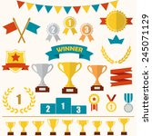 trophy and awards icon set ... | Shutterstock .eps vector #245071129