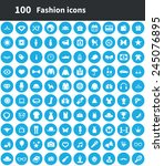 100 fashion icons  blue circle... | Shutterstock .eps vector #245076895