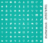 100 company icons  white on... | Shutterstock .eps vector #245076901