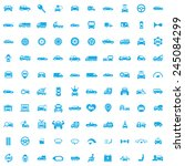 100 car icons  blue on white... | Shutterstock .eps vector #245084299