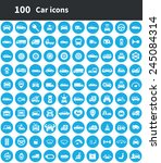 100 car icons  blue circle... | Shutterstock .eps vector #245084314