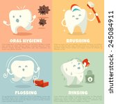oral hygiene banners with cute... | Shutterstock .eps vector #245084911