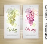 set of wine labels. grapes... | Shutterstock .eps vector #245089291