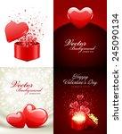set of happy valentines day... | Shutterstock .eps vector #245090134