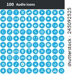 100 audio icons  blue circle... | Shutterstock .eps vector #245092525