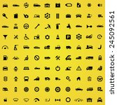 100 auto icons  black on yellow ... | Shutterstock .eps vector #245092561