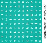 100 auto icons  white on green... | Shutterstock .eps vector #245092627