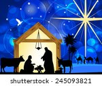 christmas christian nativity... | Shutterstock . vector #245093821