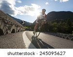 road cycling in the mountains... | Shutterstock . vector #245095627