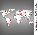 world map with red point marks... | Shutterstock .eps vector #245096674