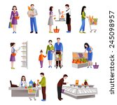 people in supermarket buying... | Shutterstock .eps vector #245098957