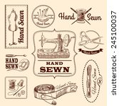 sewing emblems hand drawn set... | Shutterstock .eps vector #245100037
