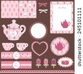 scrapbook set for tea party | Shutterstock .eps vector #245101111