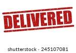 delivered grunge rubber stamp... | Shutterstock .eps vector #245107081