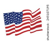 American Waving Flag Vector...