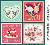 valentine's day vector cards... | Shutterstock .eps vector #245113747