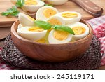 Boiled Eggs In A Bowl Decorate...