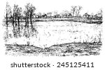 Village Landscape With River...