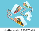 flat 3d web isometric cloud... | Shutterstock .eps vector #245126569