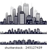 vector city skyline icons set... | Shutterstock .eps vector #245127439