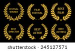 film awards. gold award wreaths ... | Shutterstock .eps vector #245127571