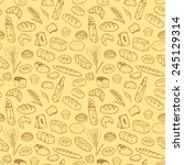 hand drawn bakery seamless... | Shutterstock .eps vector #245129314