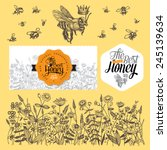 set for honey and bee labels.... | Shutterstock .eps vector #245139634