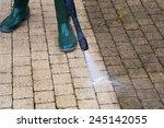 outdoor floor cleaning with...   Shutterstock . vector #245142055