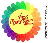 happy birthday on rainbow...   Shutterstock .eps vector #245146261