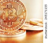 photo golden bitcoins  new... | Shutterstock . vector #245171155