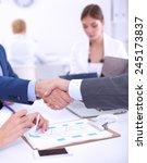 business people shaking hands ... | Shutterstock . vector #245173837
