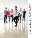 cheerful students standing in... | Shutterstock . vector #245174725