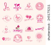 breast cancer set of stickers.... | Shutterstock .eps vector #245175211