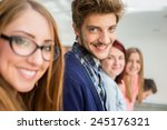 young people standing on line... | Shutterstock . vector #245176321