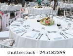 tables set for dinner wedding... | Shutterstock . vector #245182399