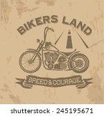 grunge vintage poster bikers... | Shutterstock .eps vector #245195671
