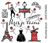 hand drawn romantic paris set.... | Shutterstock .eps vector #245196481