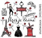 hand drawn romantic paris set.... | Shutterstock .eps vector #245196481