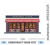 central cafe building. summer... | Shutterstock .eps vector #245213125