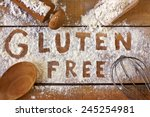 gluten free  word with wood...