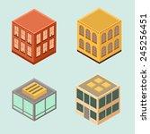 set of 4 isometric houses in... | Shutterstock .eps vector #245256451